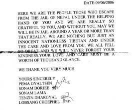 Tibetan Refugee Letter